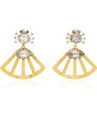 Nicole Romano - Fanned Lotus 18k Gold-plated Crystal Earrings - Lyst