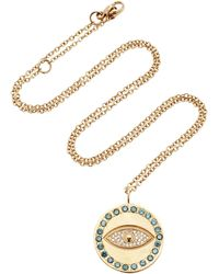 Misahara - Evil Eye Charm 18k Rose Gold Diamond Necklace - Lyst