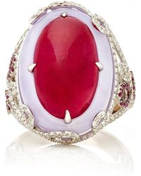 Martin Katz - Oval Ruby Cabochon And Lavender Jade Ring - Lyst