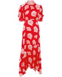 Peter Pilotto - Floral High Neck Silk Midi Dress - Lyst