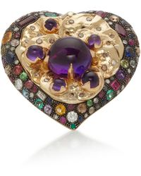 Sylvie Corbelin - Heart And Pansy 18k Gold, Multi-stone Ring - Lyst
