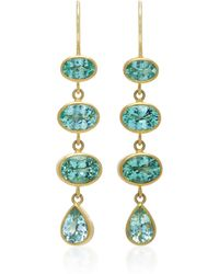 Mallary Marks - 18k Gold Green Paraiba Earrings - Lyst