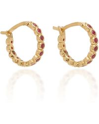 Octavia Elizabeth - Chloe Ruby And 18k Gold Hoop Earrings - Lyst