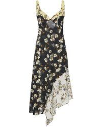 Off-White c/o Virgil Abloh - Asymmetric Floral-print Crepe Midi Dress - Lyst