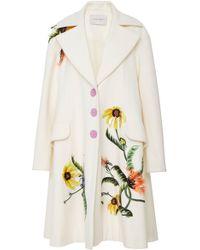 Carolina Herrera - Embroidered Three Button Coat - Lyst
