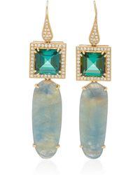 Dana Rebecca - 14k Yellow Gold, Tourmaline And Sapphire Drop Earrings - Lyst