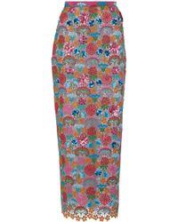 Delpozo - Guipure Midi Skirt - Lyst