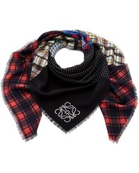 Loewe - Patchwork Check Silk And Wool Scarf - Lyst