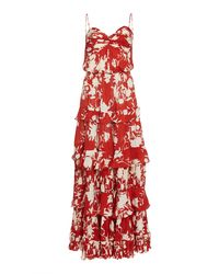 Johanna Ortiz - Old Garden Rose Floral Silk Dress - Lyst