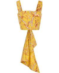 Johanna Ortiz - Bow-detailed Floral-print Cotton-poplin Top - Lyst