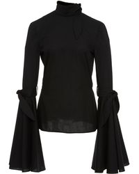 Hensely - Bell Sleeve Tie Top - Lyst