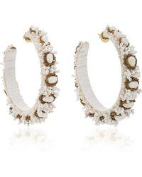 Ranjana Khan - M'o Exclusive White Beaded Hoop Earrings - Lyst