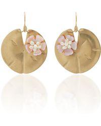 Annette Ferdinandsen | Lily Pad 14k Gold And Pearl Earrings | Lyst
