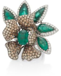 Wendy Yue - 18k White Gold, Emerald And Diamond Ring - Lyst