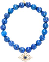 Sydney Evan - 8mm Lapis Bead Bracelet With Extra Large Pave Bezel Evil Eye - Lyst