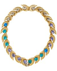 Nicole Romano - 18k Gold-plated Leaf And Colored Crystal Necklace - Lyst