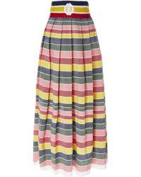 Carolina K - Santa Clara Rainbow Stripe Cotton-poplin Midi Skirt - Lyst