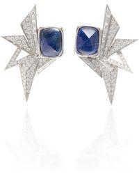 Kavant & Sharart - 18k White Gold And Blue Sapphire Origami Earrings - Lyst