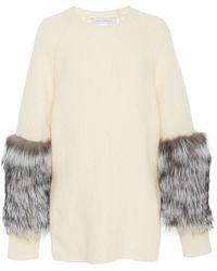 Sally Lapointe | Rib Knit Fur Sleeve Pullover | Lyst