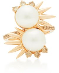 Joana Salazar - Double Spike 14k Rose Gold And Pearl Ring - Lyst
