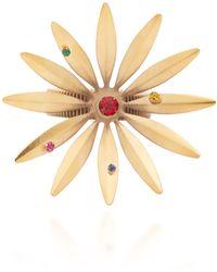Rodarte - Gold Daisy Expandable Bracelet With Swarovski Crystals - Lyst