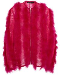 Sally Lapointe - Collarless Feathered Mesh Coat - Lyst