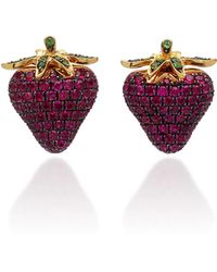 Khai Khai - 18k Gold, Ruby, And Tsavorite Earrings - Lyst
