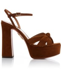 Aquazzura - Baba Knotted Suede Platform Sandals - Lyst