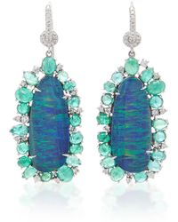 Nina Runsdorf - Blue Australian Opal With Emerald Earrings - Lyst