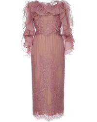 Marchesa Off-the-shoulder Corded Lace Cocktail Dress