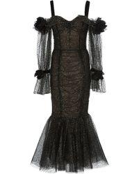Marchesa - Cold-shoulder Glittered Tulle Dress - Lyst