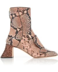 Rochas - Glittered Python-effect Leather Ankle Boots - Lyst