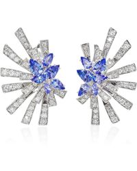 Hueb - Mirage 18k White Gold, Diamond And Tanzanite Earrings - Lyst