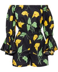 LaDoubleJ - Calla Lily Print Cotton Playsuit - Lyst