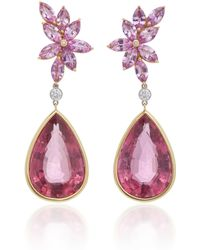 Goshwara - 18k Gold, Pink Sapphire, Rubellite, And Diamond Earrings - Lyst