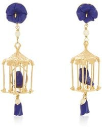 Of Rare Origin | Pagoda 18k Yellow Gold Vermeil, Lapis And White Agate Earrings | Lyst