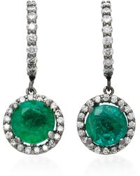 Colette - Planet 18k White Gold, Diamond And Emerald Earrings - Lyst