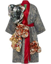 Rianna + Nina - Exclusive Belted Floral-appliquéd Silk-brocade Coat - Lyst