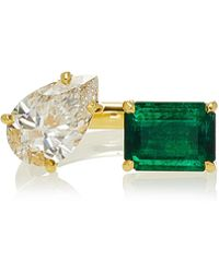 Jemma Wynne - One Of A Kind Emerald And Diamond Open Ring - Lyst