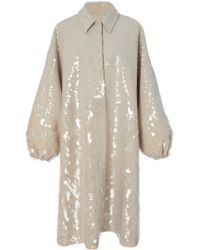 Sally Lapointe - Embroidered Oversized Cotton And Silk Canvas Coat - Lyst