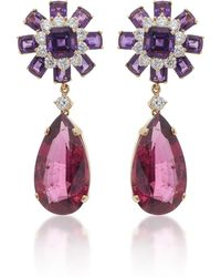 Goshwara - 18k Gold, Rubellite, Amethyst And Diamond Earrings - Lyst