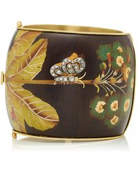 Silvia Furmanovich - Marquetry Brown Butterfly Cuff With antique Diamond Butterfly Accent - Lyst