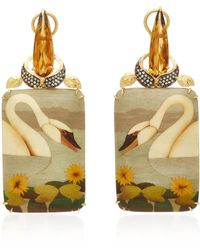 Silvia Furmanovich - Marquetry Swan Rectangular Drop Earrings with Light Brown Diamonds And Citrine - Lyst