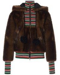 Stella Jean - Striped Combo Faux Fur Hoodie - Lyst