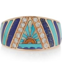 Jacquie Aiche - 14k Gold, Diamond, Lapis, Turquoise And Opal Ring - Lyst