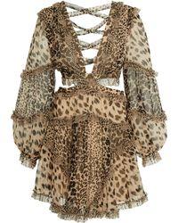 Zimmermann - Allia Cutout Leopard-print Chiffon Mini Dress - Lyst