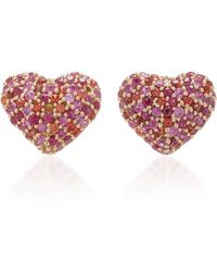 She Bee - 14k Gold And Sapphire Heart Stud Earrings - Lyst