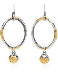 Bottega Veneta - Antique Silver Drop Hoop Earrings - Lyst