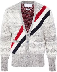 Thom Browne - Striped Fair Isle Wool And Mohair-blend Cardigan - Lyst