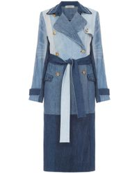 Ksenia Schnaider - Reworked Denim Patchwork Trench Coat - Lyst